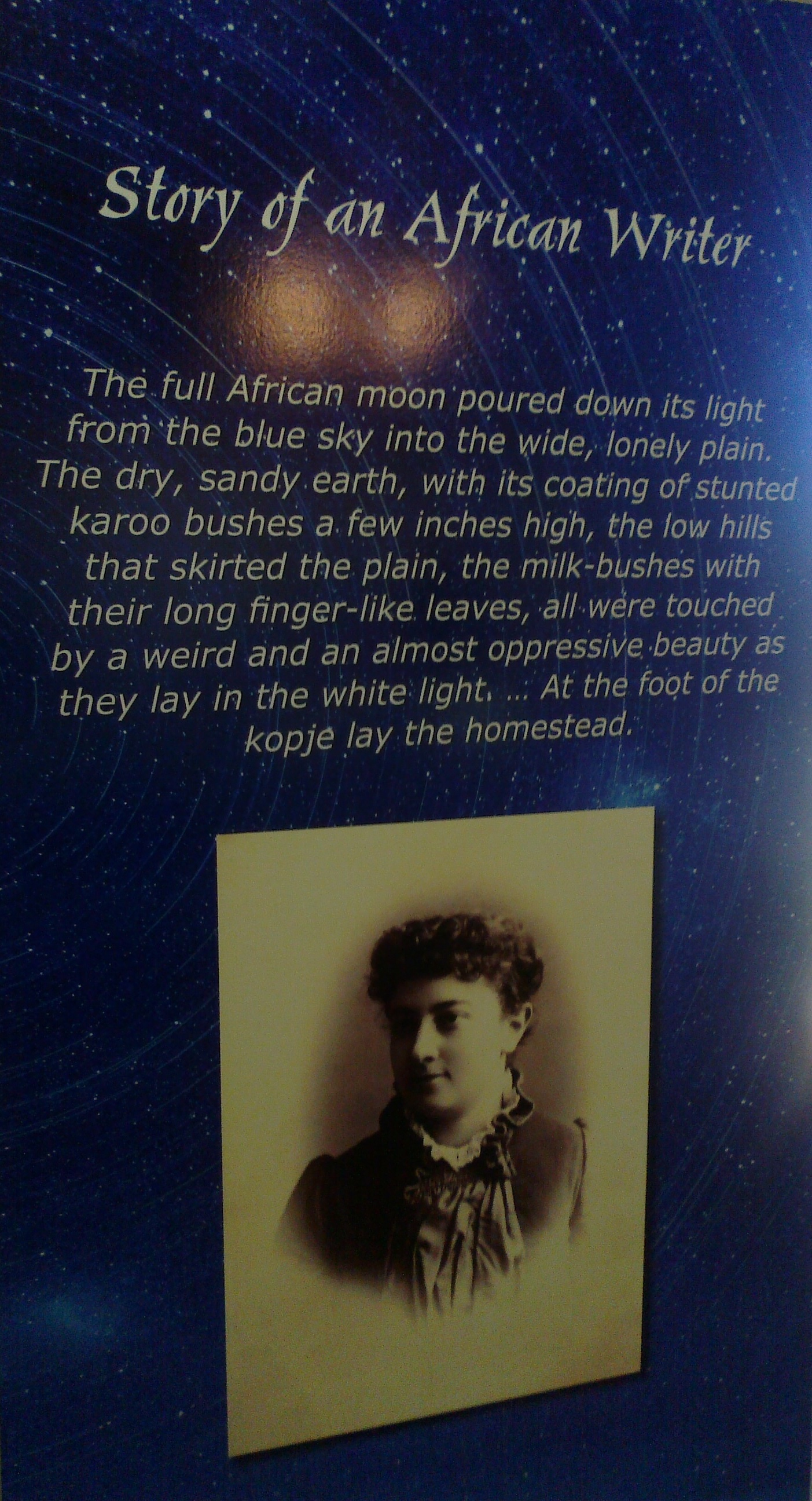 The first paragraph of Story of an African farm, Schreiner's best-selling novel.
